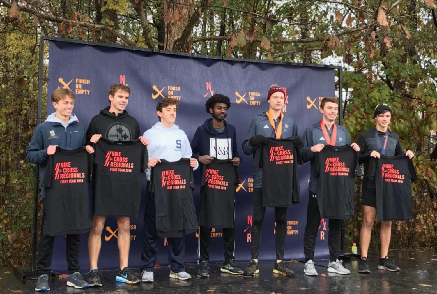 Keehan (third left) and Banko (far left) emerge from North Carolina victorious, ready to show Oregon what Salesianum is made of.
