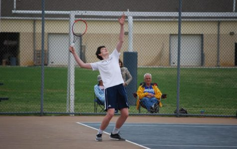 Patrick Deely sets up for a powerful serve against his Archmere opponent.