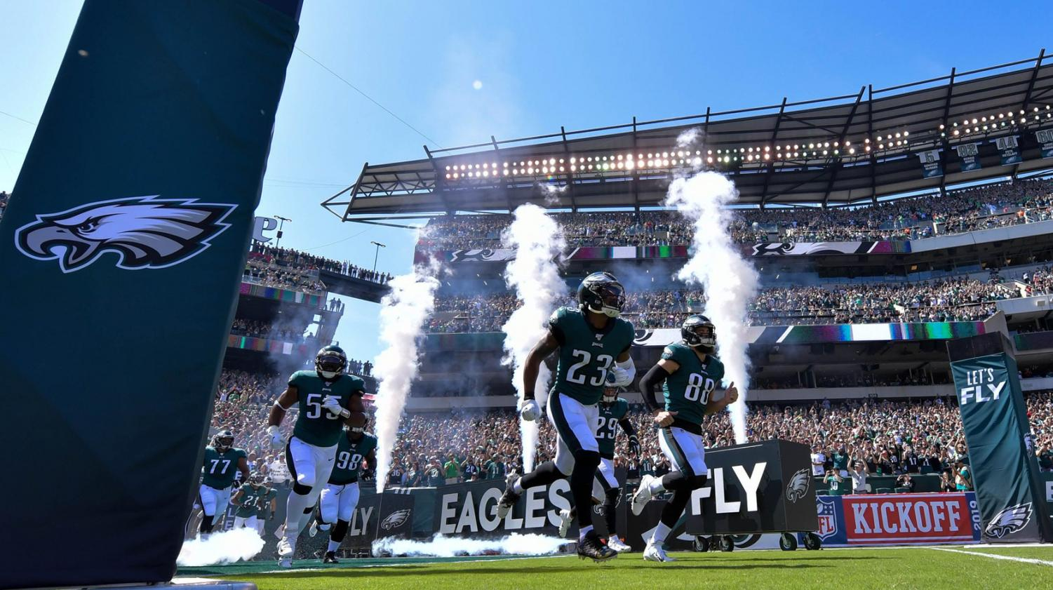 The Philadelphia Eagles fly onto the field ready to kickoff game day against the Washington Redskins.