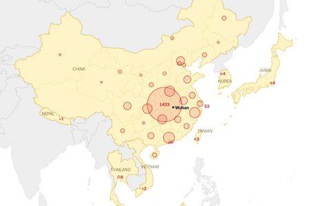 Spread of Coronavirus from China to Neighboring Countries as of January 27th.