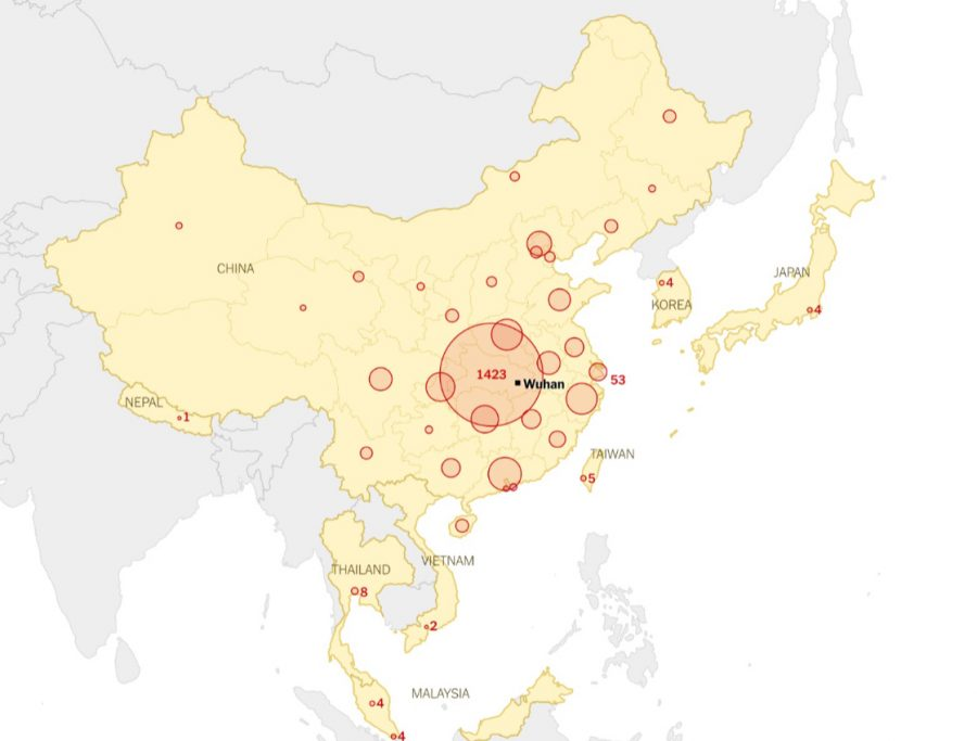 Spread+of+Coronavirus+from+China+to+Neighboring+Countries+as+of+January+27th.