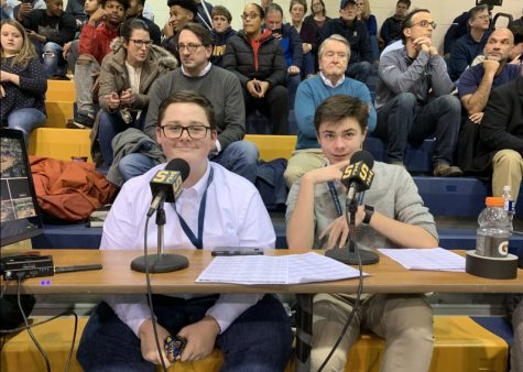 "(From left to right) Declan Landis and Brendan Clerval reppin' the ""S"" at a Sallies basketball game."