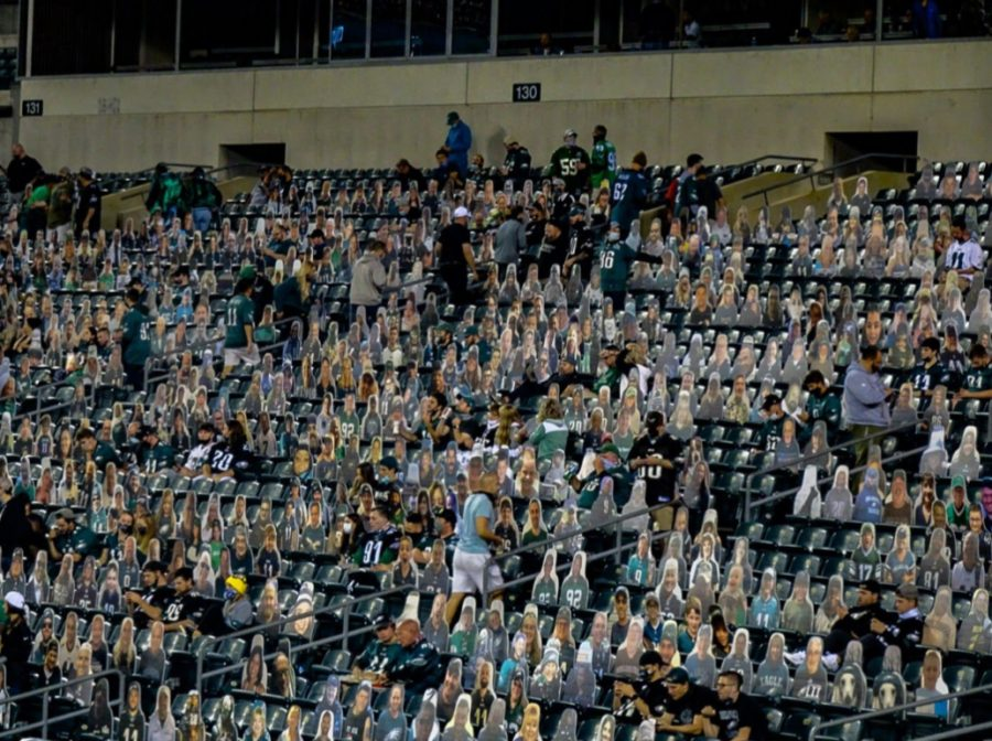 Cardboard Cutouts are mixed in with the fans at Thursday Night's Eagles Game.