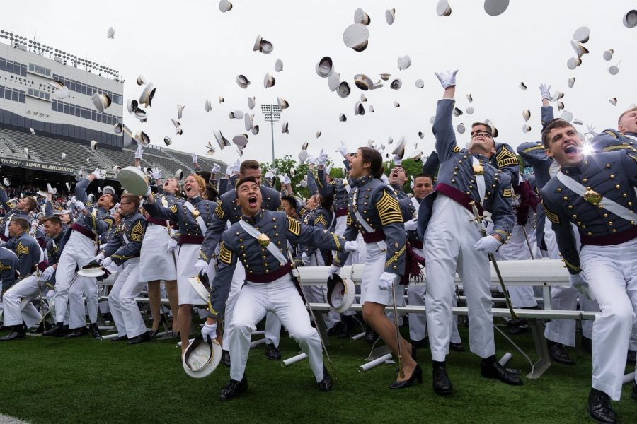 Graduates+from+the+United+States+Military+Academy+at+West+Point+celebrate+their+accomplishments+with+a+ceremonial+hat+throw.