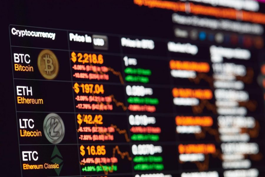 New york, USA - July 14, 2017: Bitcoin exchange to dollar rate on monitor display. Cryptocurrency invest chart