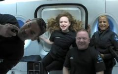 First look of the crew of Inspiration4 after launch.
